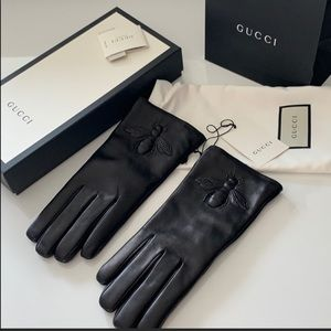 NWT Gucci Leather Gloves with Bee Details